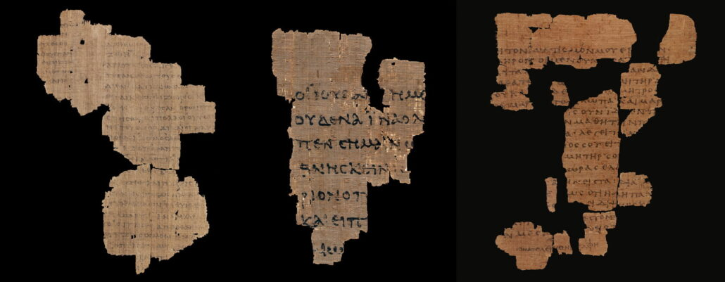 """The earliest known fragments of St John's Gospel on papyrus. <small><a href=""""https://www.facsimile-editions.com/copyright/"""">© Copyright 2021 Facsimile Editions Ltd</a></small>"""