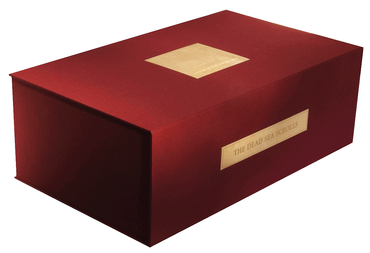 """Presentation case containing three Scrolls and three sets of fragments.  © Copyright 2021 Facsimile Editions Ltd. <small><a href=""""https://www.facsimile-editions.com/copyright/"""">CLICK HERE for Copyright T&C Facsimile Editions Ltd</a></small>"""