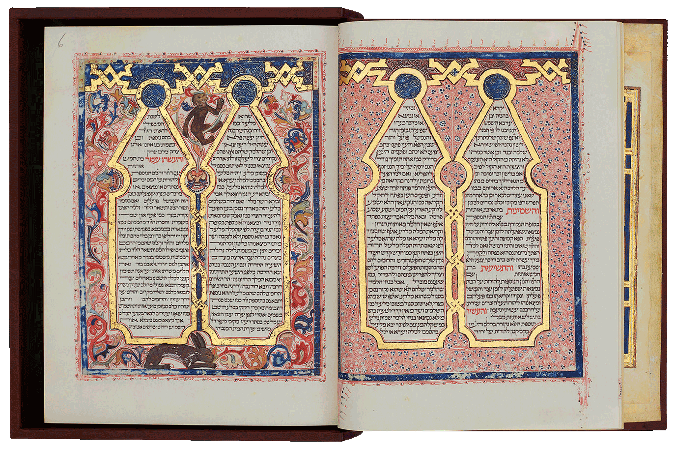 """Folio 5/6 The exceptional arcaded pages decorating RaDaK's Sefer Mikhlol. <small><a href=""""https://www.facsimile-editions.com/copyright/"""">© Copyright 2021 Facsimile Editions Ltd</a></small>"""