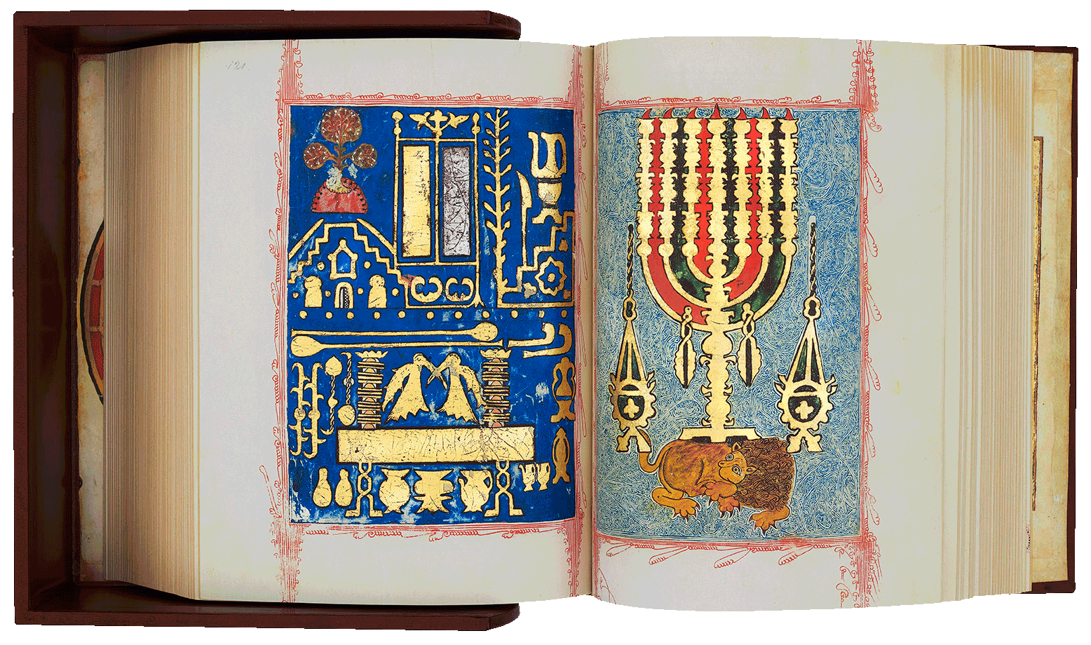"""Folio 120/121 The famous carpet pages, traditional in Sephardic bibles, depict the implements used in the Temple, the Mount of Olives, the table of Shewbread and the menorah guarded by the Lion of Judah.<small><a href=""""https://www.facsimile-editions.com/copyright/"""">© Copyright 2021 Facsimile Editions Ltd</a></small>"""