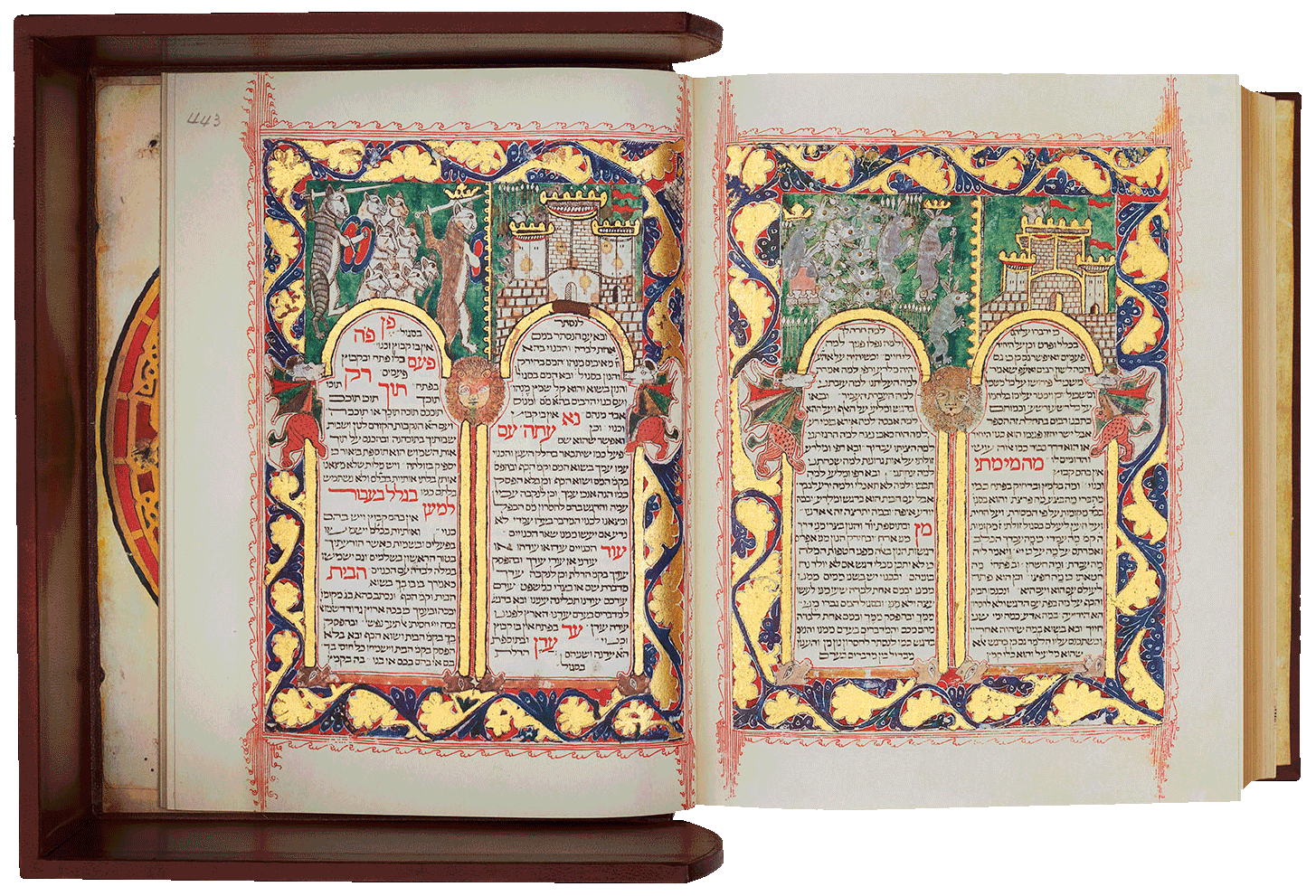 """Folio 443/442  Above the magnificent arcaded pages, an army of rabbits besieges a lone wolf in a castle on the right and an army of cats attacks a dogs' castle on the left. <small><a href=""""https://www.facsimile-editions.com/copyright/"""">© Copyright 2021 Facsimile Editions Ltd</a></small>"""