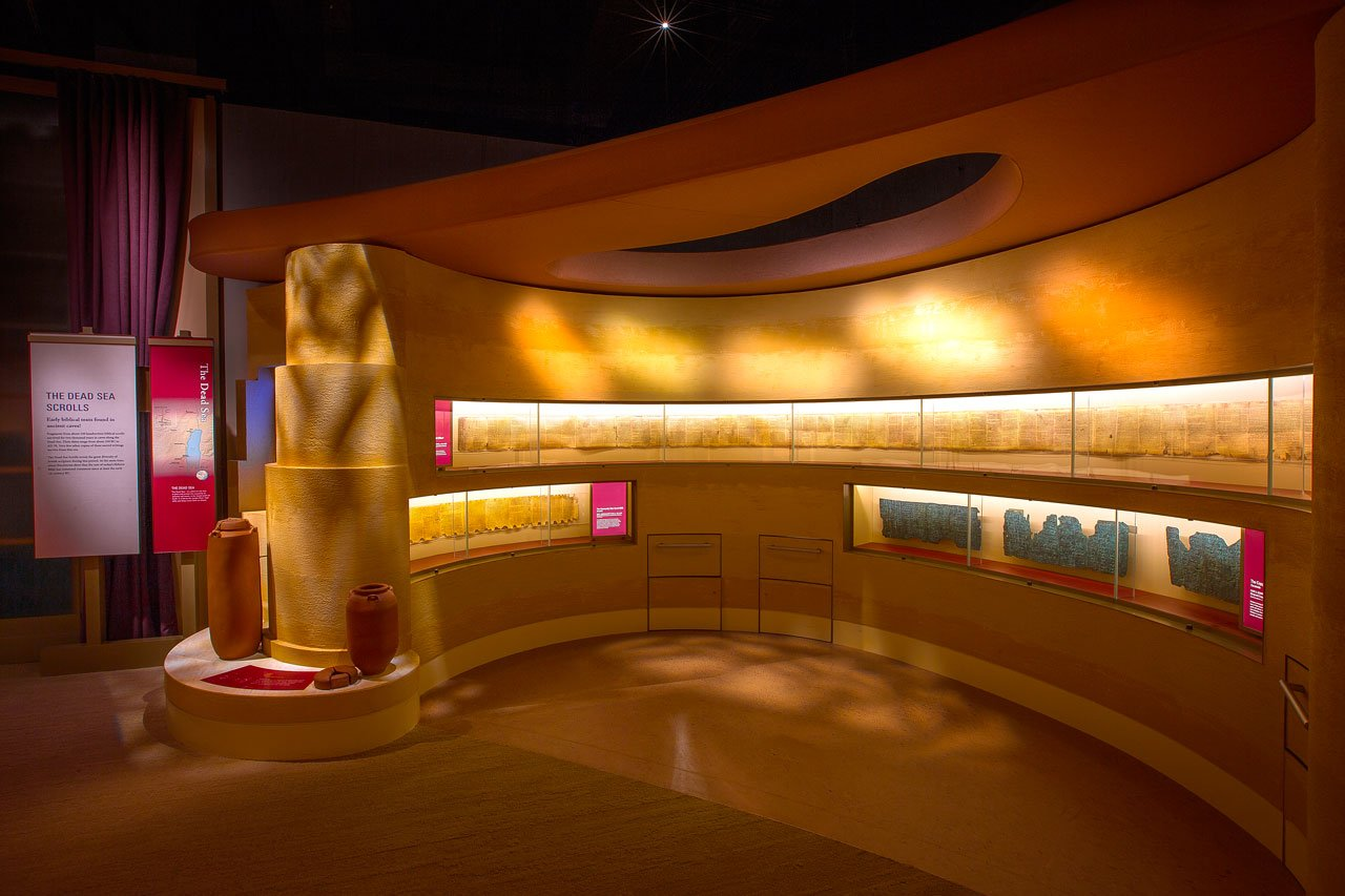 """The facsimiles of the Dead Sea Scrolls and the Copper Scroll on display at the Museum of the Bible in Washington DC  <small><a href=""""https://www.facsimile-editions.com/copyright/"""">© Copyright 2021 Museum of the Bible</a></small>"""