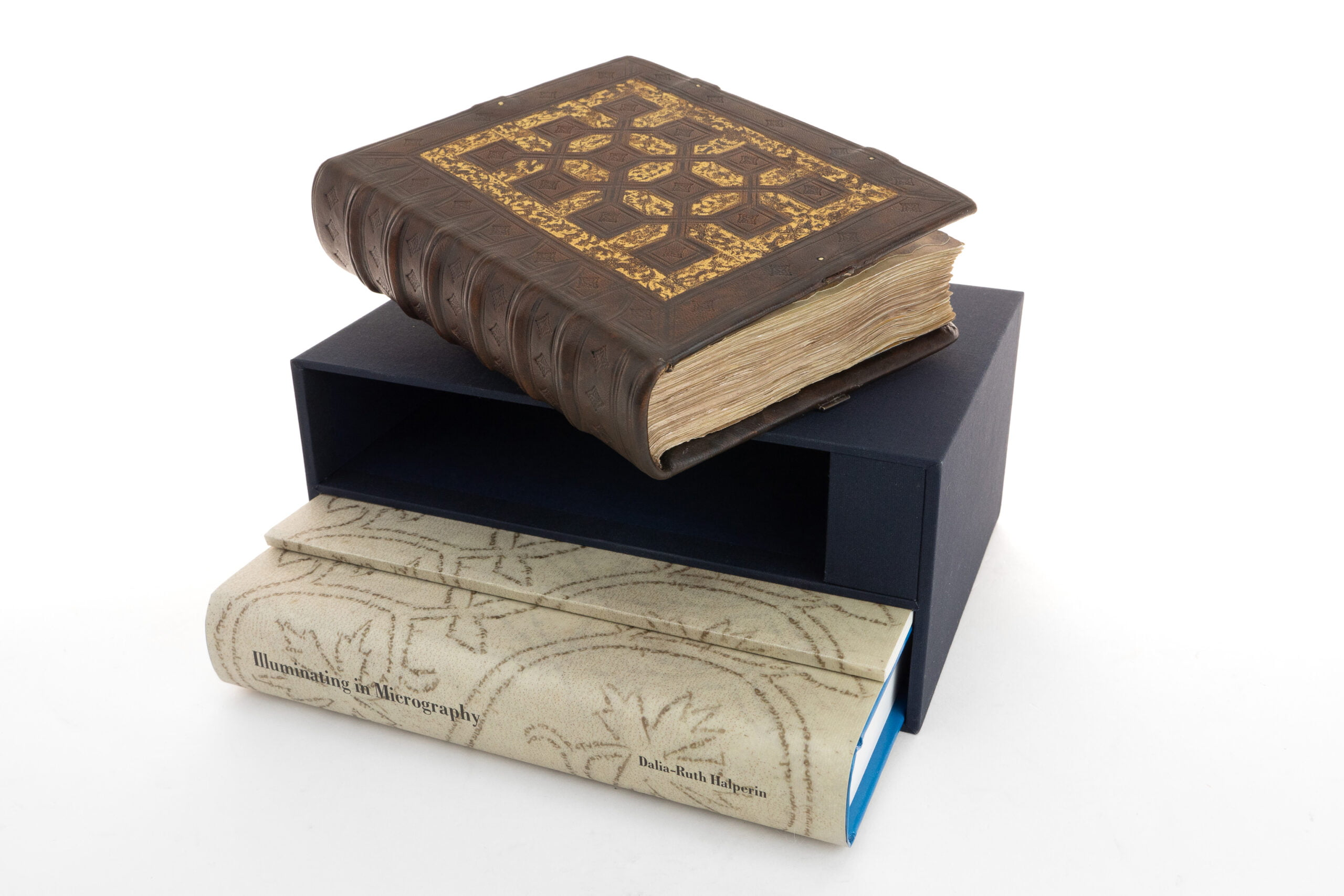 """The Catalan Mahzor facsimile, commentary volume, explanatory booklet describing the manuscript's acquisition and slipcase. <small><a href=""""https://www.facsimile-editions.com/copyright/"""">© Copyright 2021 Facsimile Editions Ltd</a></small>"""