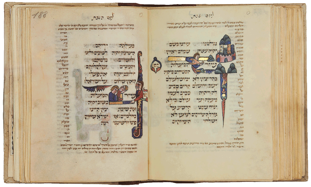 """Folio 188a:   Psalm 126 'When the Lord restored the fortunes of Zion, we were like those who dream', and 'Then our mouth was filled with... shouts of joy'. Folio 187b: Psalm 126 (125) - The tall towers and palaces of a city are enclosed in a round crenellated wall. A human figure plays a type of lute and the picture illustrates v. 2, 'As the mountains are round about Jerusalem, ...'.<small><a href=""""https://www.facsimile-editions.com/copyright/"""">© Copyright 2021 Facsimile Editions Ltd</a></small>"""