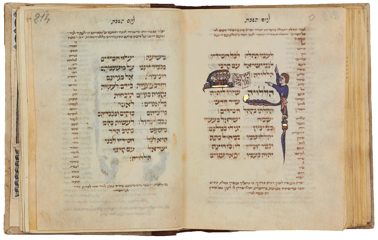 """Folio 213b: Psalm 149 - 'Sing unto the Lord a new song.' A choir leader directs five choristers before whom there is an open book with notes and the words Ein kamokha ('There is none like unto Thee among the gods. O Lord'), a verse (Ps. 86:8) now sung before the reading of the Torah on Sabbath mornings, according to the Ashkenazic (but not the Sephardic) rite. <small><a href=""""https://www.facsimile-editions.com/copyright/"""">© Copyright 2021 Facsimile Editions Ltd</a></small>"""