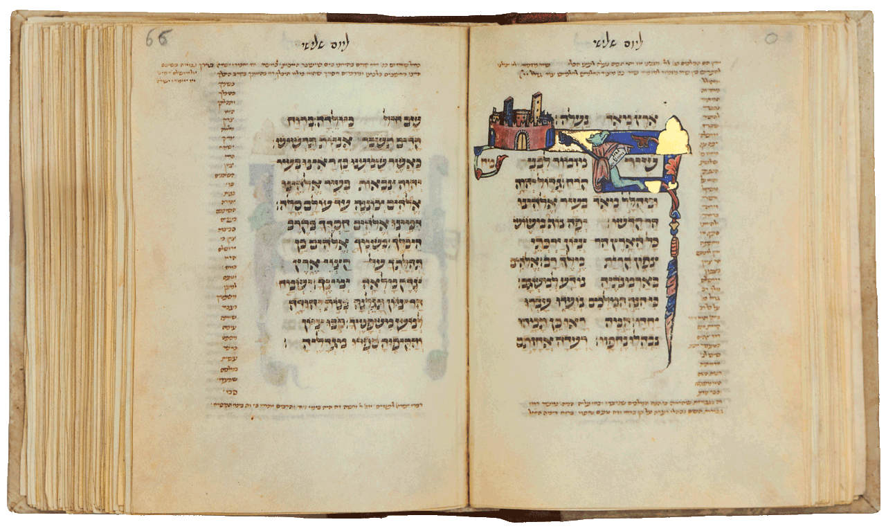 """Folio 65b: Psalm 48 - Depicting a city with golden doors. symbolizing the sanctity of the Temple Mount (as in Psalm 15) A human figure with a griffin's head looks up while pointing to the mound and holding a phylactery on which the first words are written: 'Great is the Lord and greatly to be praised'. The city and mountain illustrate the end of this verse, 'in the city of our God! His holy mountain'. <small><a href=""""https://www.facsimile-editions.com/copyright/"""">© Copyright 2021 Facsimile Editions Ltd</a></small>"""