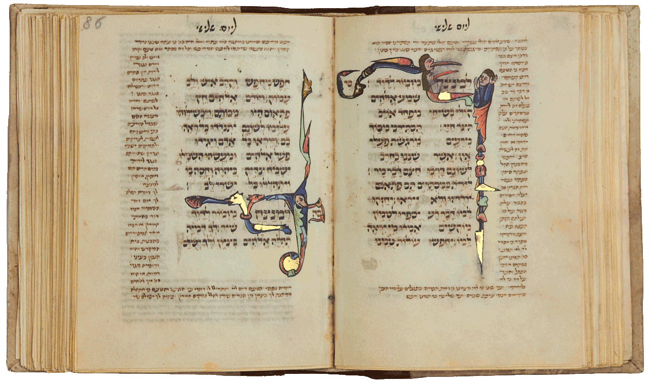 """Folio 85b: Psalm 64, A human figure raises both hands to shield himself from two hybrids with human heads that dart at him from the left, with monstrously long and pointed red tongues. It is a close visual translation of vv. 2 4 (1 3), 'Hear my voice, ... preserve my life, ... hide me from ... the scheming of evildoers, who whet their tongues like swords, who aim bitter words like arrows'.  Folio 86a: Psalm 65, The figure with an arm outstretched and a dog's face in the opening of his hood is a 'choirmaster'<small><a href=""""https://www.facsimile-editions.com/copyright/"""">© Copyright 2021 Facsimile Editions Ltd</a></small>"""