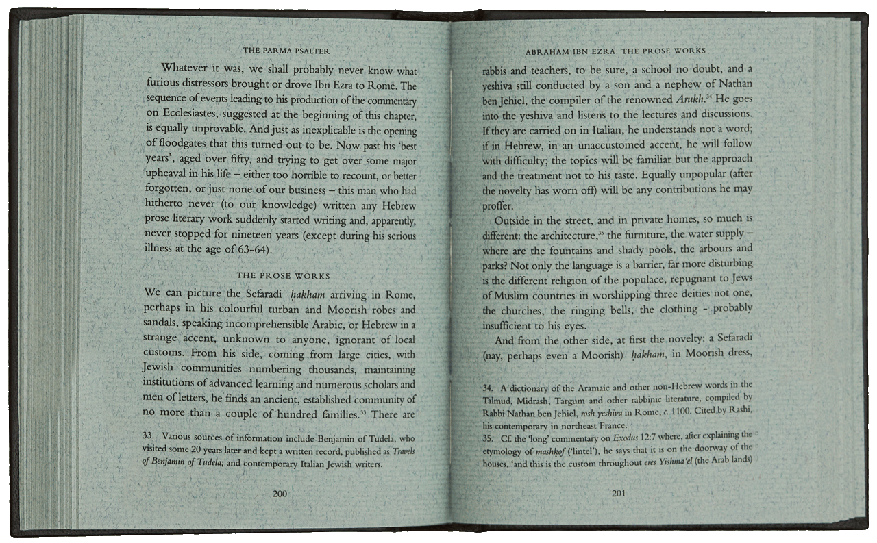 """Pages 200-201 of the commentary volume, part of Emmanuel Silver's expert chapter on Abraham Ibn Ezra. <small><a href=""""https://www.facsimile-editions.com/copyright/"""">© Copyright 2021 Facsimile Editions Ltd</a></small>"""