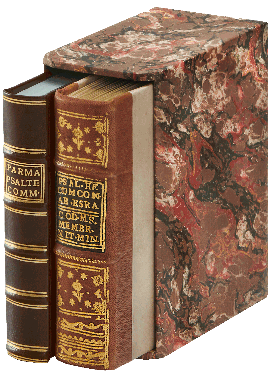 """Facsimile and Commentary Volume in hand-marbled, hand-made slip case. <small><a href=""""https://www.facsimile-editions.com/copyright/"""">© Copyright 2021 Facsimile Editions Ltd</a></small>"""
