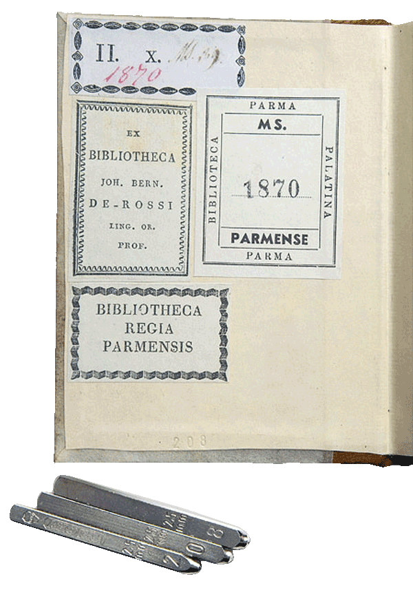 """The inside back cover of the facsimile, showing the hand-stamped number and library labels. Intricate details are scrupulously observed in the facsimile. <small><a href=""""https://www.facsimile-editions.com/copyright/"""">© Copyright 2021 Facsimile Editions Ltd</a></small>"""