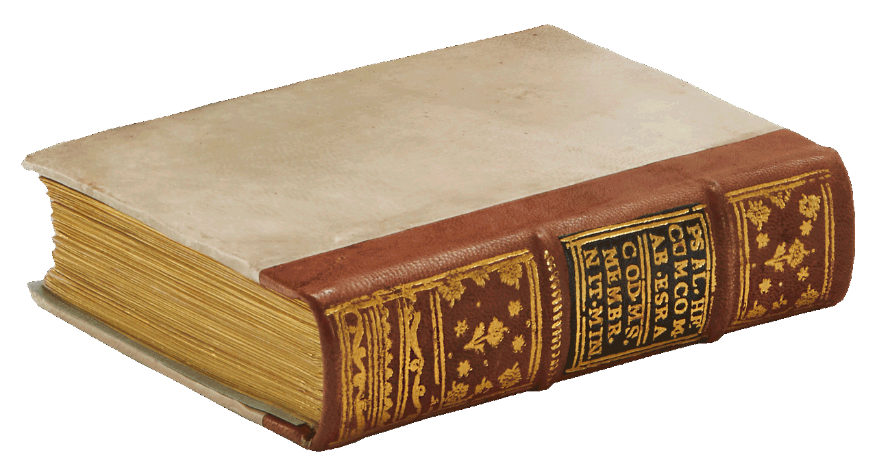 """The facsimile's fine vellum binding with aged gold-tooled havana-sheepskin spine. <small><a href=""""https://www.facsimile-editions.com/copyright/"""">© Copyright 2021 Facsimile Editions Ltd</a></small>"""