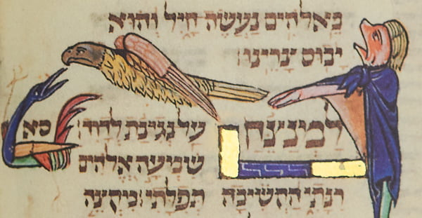 """Folio 82b: Psalm 61 - A human figure with a dog's face raises his head, with his mouth open and arms stretched forward. Above the text an eagle flies towards the left. The figure illustrates, 'Hear my cry, O God, listen to my prayer'. The image of the large bird flying translates the longings of the Psalmist, 'Oh to be safe under the shelter of thy wings!'.<small><a href=""""https://www.facsimile-editions.com/copyright/"""">© Copyright 2021 Facsimile Editions Ltd</a></small>"""
