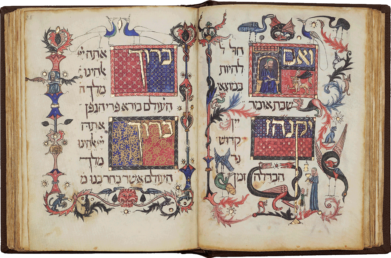 """Folio 25r-24v <i>'And if it falls on Shabbat evening say (the prayers indicated by the following mnemonic Y'K'N'H'Z  ... (wine, Kiddush, candles, havdalah, time) ...' </i>A man with a golden chalice makes Kiddush with a small boy at the foot of the page. Prayer over wine and Kiddush - sanctification of the Sabbath. Two ornate word panels bearing the word 'Blessed' are decorated in the margins with colourful designs. A dog blows a trumpet and beats a drum. On this leaf, rabbits chase dogs and a pair of peacocks head the page. At the foot of the page, two stork-like birds peck the mane of a 'sprouting' lion.  <small><a href=""""https://www.facsimile-editions.com/copyright/"""">© Copyright 2020 Facsimile Editions Ltd</a></small>"""