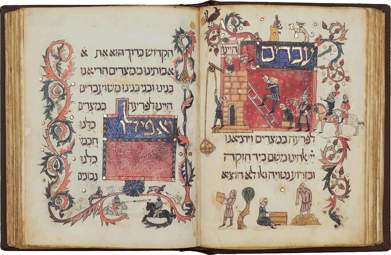 """Folio 31r-29v  <i>We were slaves to Pharoah in Egypt, but the Lord brought us out from there … </i>The scene depicts the slavery inflicted by the Egyptians. The construction methods and the clothing of the Israelites and Egyptians are all contemporary with the manuscript. In the margins a hare is seated on a throne and is offered a drink by a servile dog.  <small><a href=""""https://www.facsimile-editions.com/copyright/"""">© Copyright 2020 Facsimile Editions Ltd</a></small>"""