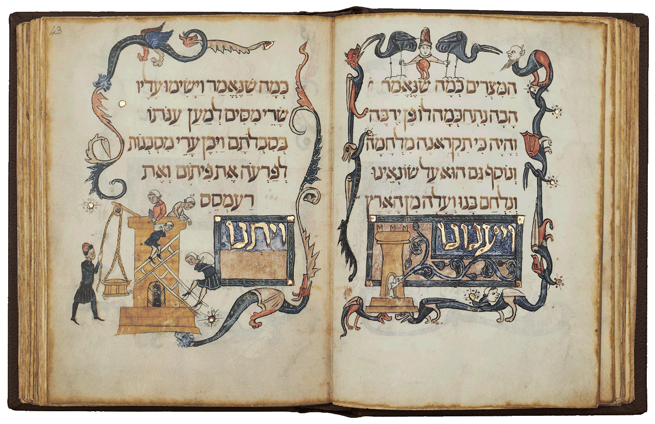 """Folios 43r-42v  This scene illustrates the text <i>""""And the Egyptians dealt evilly with us and imposed hard labour upon us"""".</i> To the left two Israelites ascent ladders with heavy loads on their backs. A bricklayer at the top of the tower prepares to receive more materials while his companion waits for a basket to be hoisted up by a pulley-man standing in the outer margin.  <small><a href=""""https://www.facsimile-editions.com/copyright/"""">© Copyright 2020 Facsimile Editions Ltd</a></small>"""