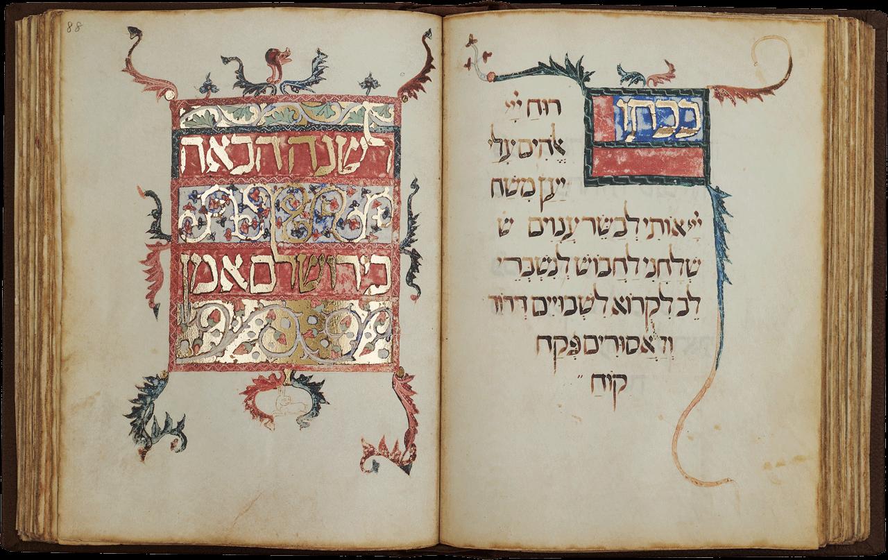 """Folio 88r <i>""""Next Year in Jerusalem, Amen""""</i>  <small><a href=""""https://www.facsimile-editions.com/copyright/"""">© Copyright 2020 Facsimile Editions Ltd</a></small>"""
