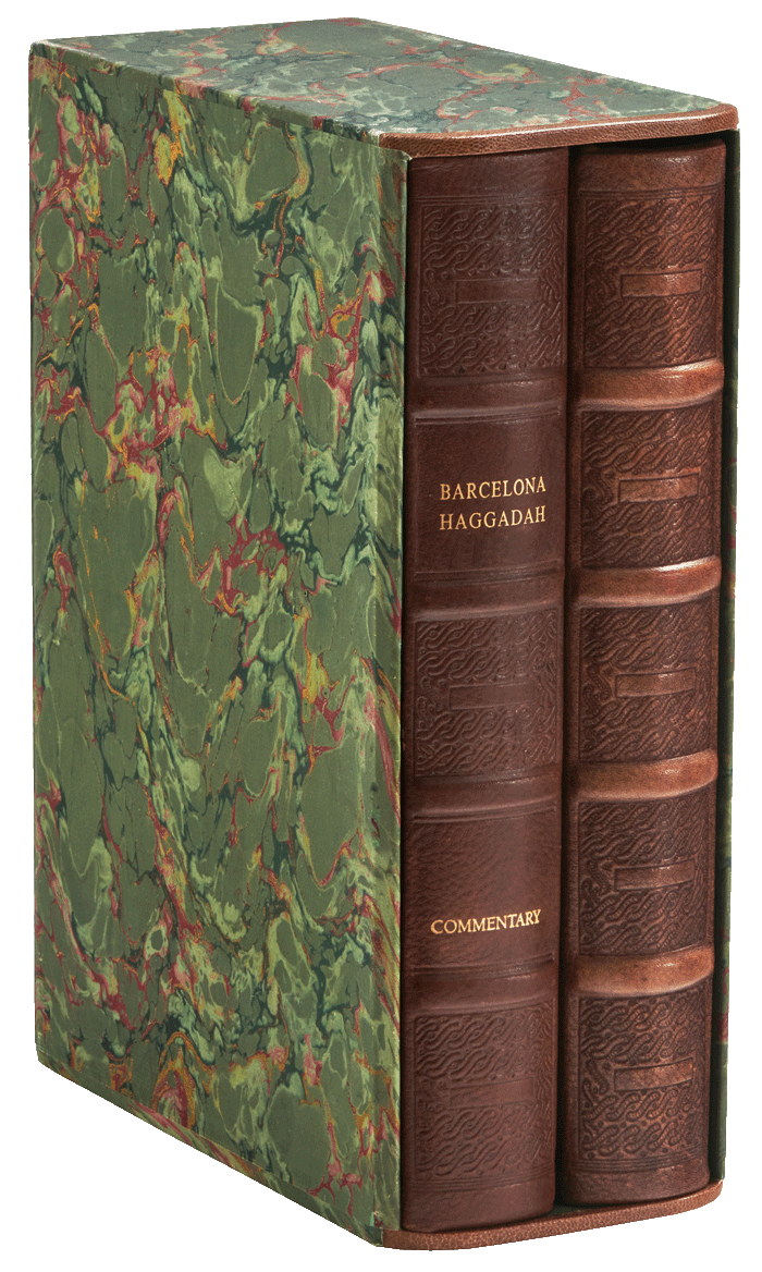 """The two volumes in their hand-marbled slipcase.  <small><a href=""""https://www.facsimile-editions.com/copyright/"""">© Copyright 2020 Facsimile Editions Ltd</a></small>"""