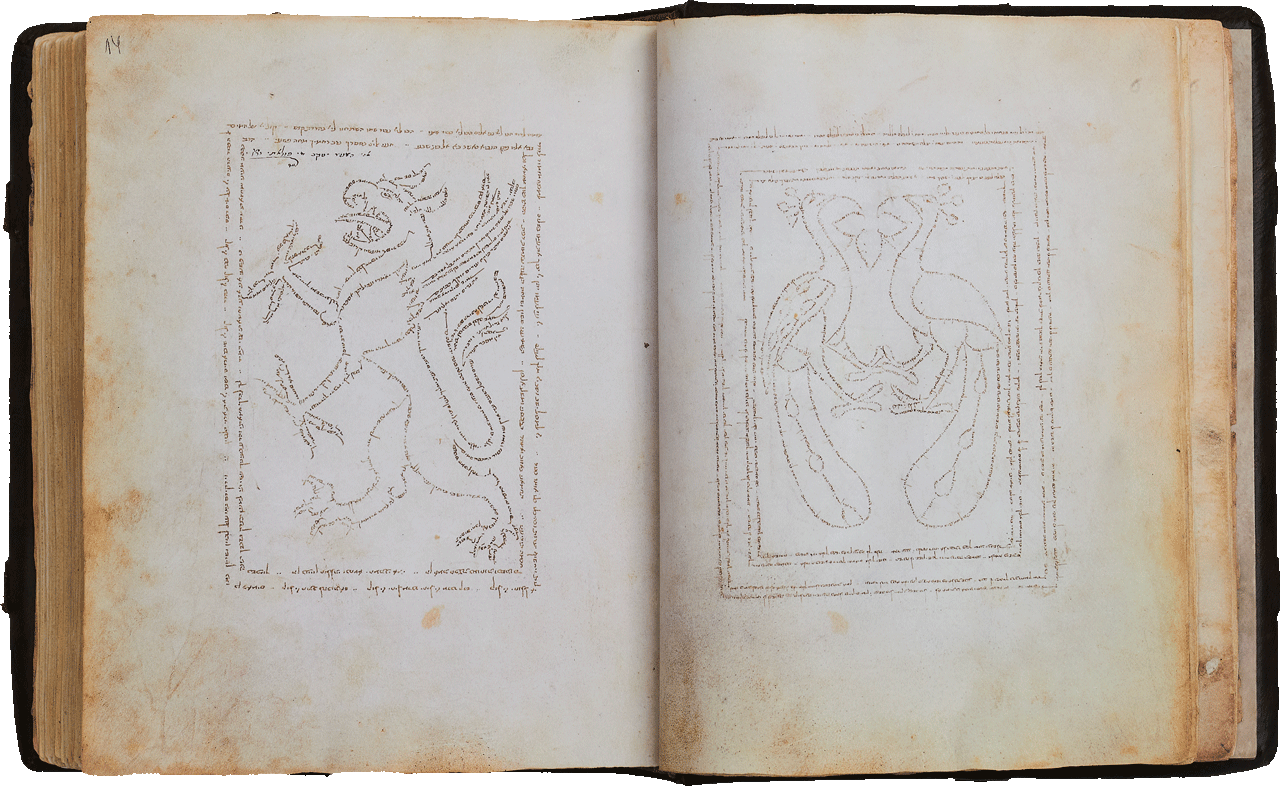 """Folio 14r  The writing starts above the griffin's hind leg and continues clockwise  starting with Psalms 84 and 144 to Psalm 147. The frames contain Psalms 129 and 51. <small><a href=""""https://www.facsimile-editions.com/copyright/"""">© Copyright 2021 Facsimile Editions Ltd</a></small>"""