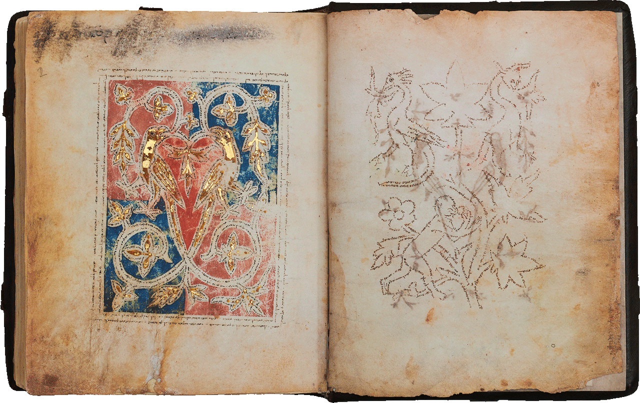 """Folio 1v (r)<br />The text flows from outer edge of the leading foot of the Monkey and begins with Psalm 1, """"Happy is the man who has not followed the counsel of the wicked…'  The bird-headed dragon, starts with Psalm 122 and contains Psalm 123. The tree contains Psalm 124 and ends with Psalm 127. The left dragon starts with Psalm 132 and ends with Psalm 133.<br />Folio 2r (l)<br />The writing begins at the inner upper point of the right bird's wing and starts with 2 Samuel 22. The frames contain Psalm 119. <small><a href=""""https://www.facsimile-editions.com/copyright/"""">© Copyright 2021 Facsimile Editions Ltd</a></small>"""