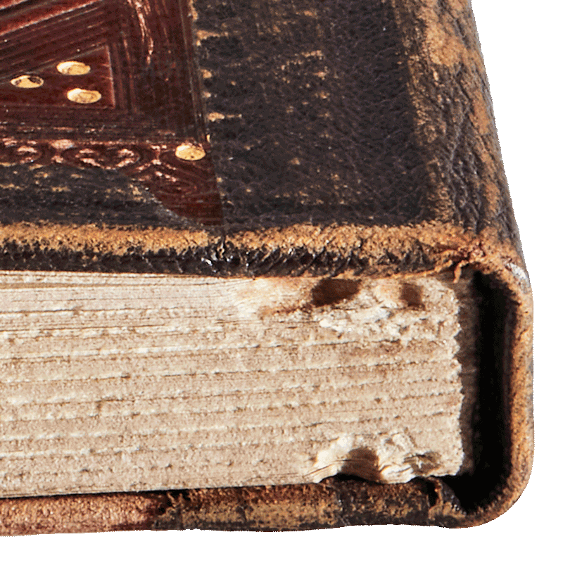 """The ravages of time: scuffing, wear and tear. Image from the facsimile. <small><a href=""""https://www.facsimile-editions.com/copyright/"""">© Copyright 2021 Facsimile Editions Ltd</a></small>"""