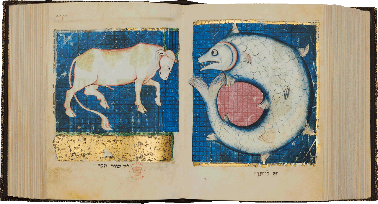 """Folios 519a-518b The Fabulous Ox and the Leviathan <small><a href=""""https://www.facsimile-editions.com/copyright/"""">© Copyright 2021 Facsimile Editions Ltd</a></small>"""