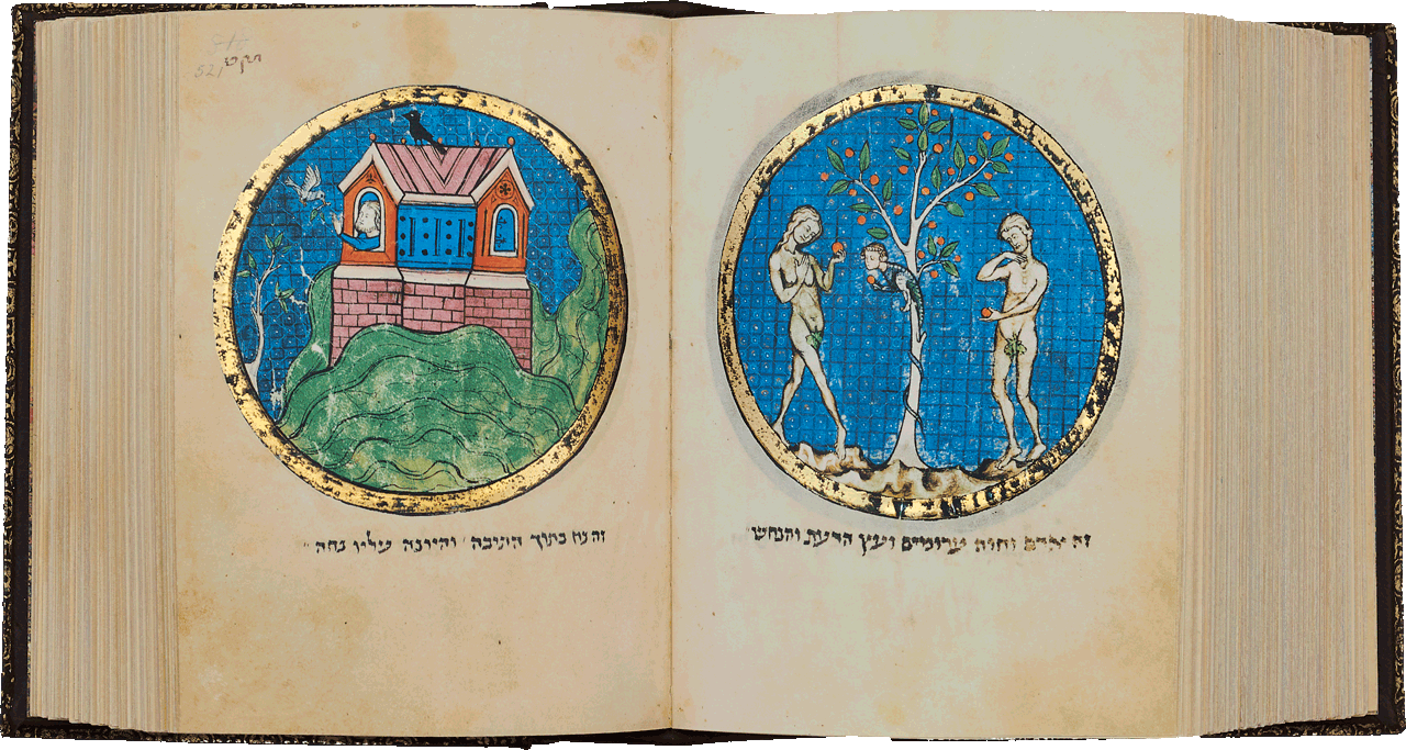 """Folio 521a/520b   This scene of Noah in the ark is the only Ashkenazi example from this period. On the opposite page, Adam and Eve are portrayed with the serpent in the Garden of Eden. <small><a href=""""https://www.facsimile-editions.com/copyright/"""">© Copyright 2021 Facsimile Editions Ltd</a></small>"""