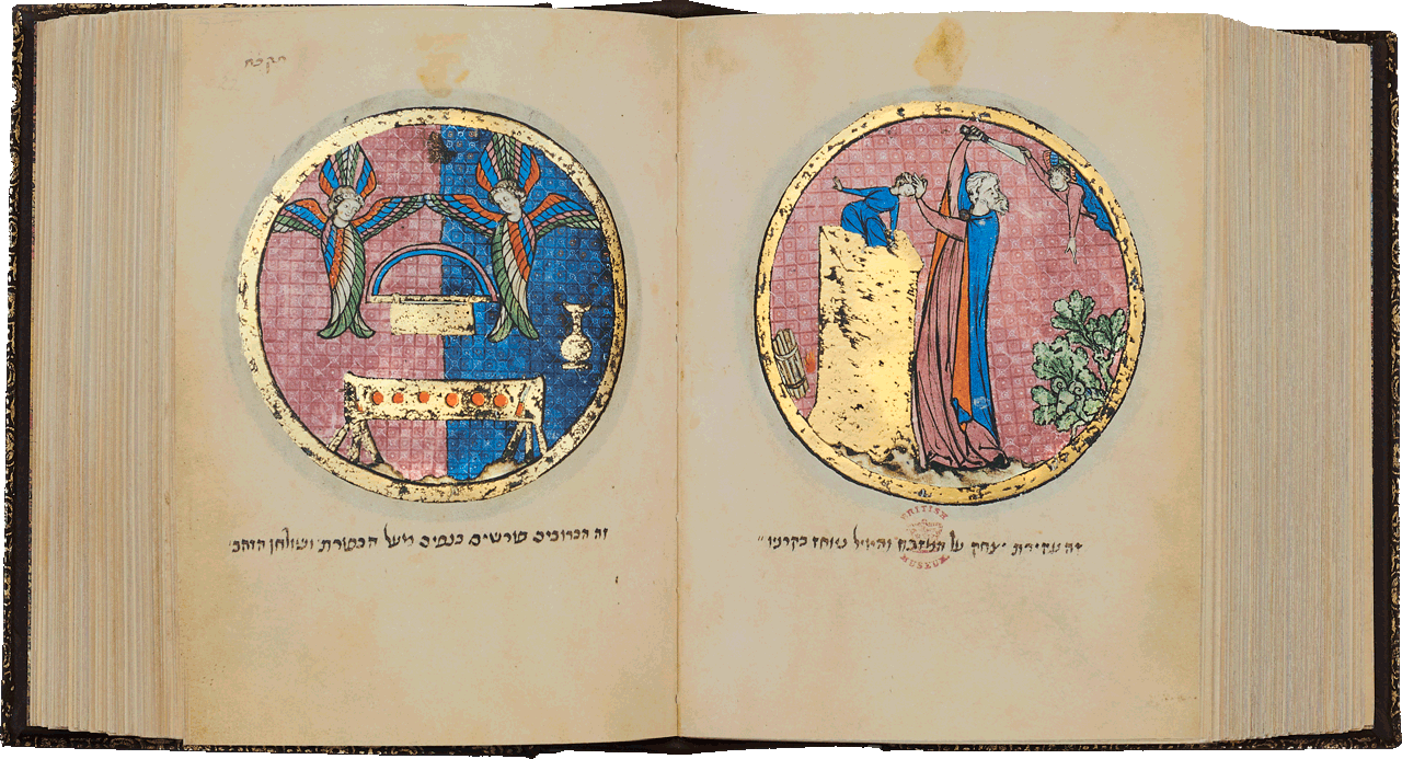 """Folio 522a/521b Tabernacle implements. In the centre of the medallion is the Ark of the Covenant flanked by two cherubim, the Table of Shewbread at the bottom. Aaron places the jar containing an omer of manna 'before God …' On the right, the binding of Isaac. Abraham stands by the altar, grasping Isaac by the forelock, his knife poised. He turns his head towards an angel who holds the blade of the knife, preventing it from touching Isaac. At the same time he points at a ram caught in a bush <small><a href=""""https://www.facsimile-editions.com/copyright/"""">© Copyright 2021 Facsimile Editions Ltd</a></small>"""