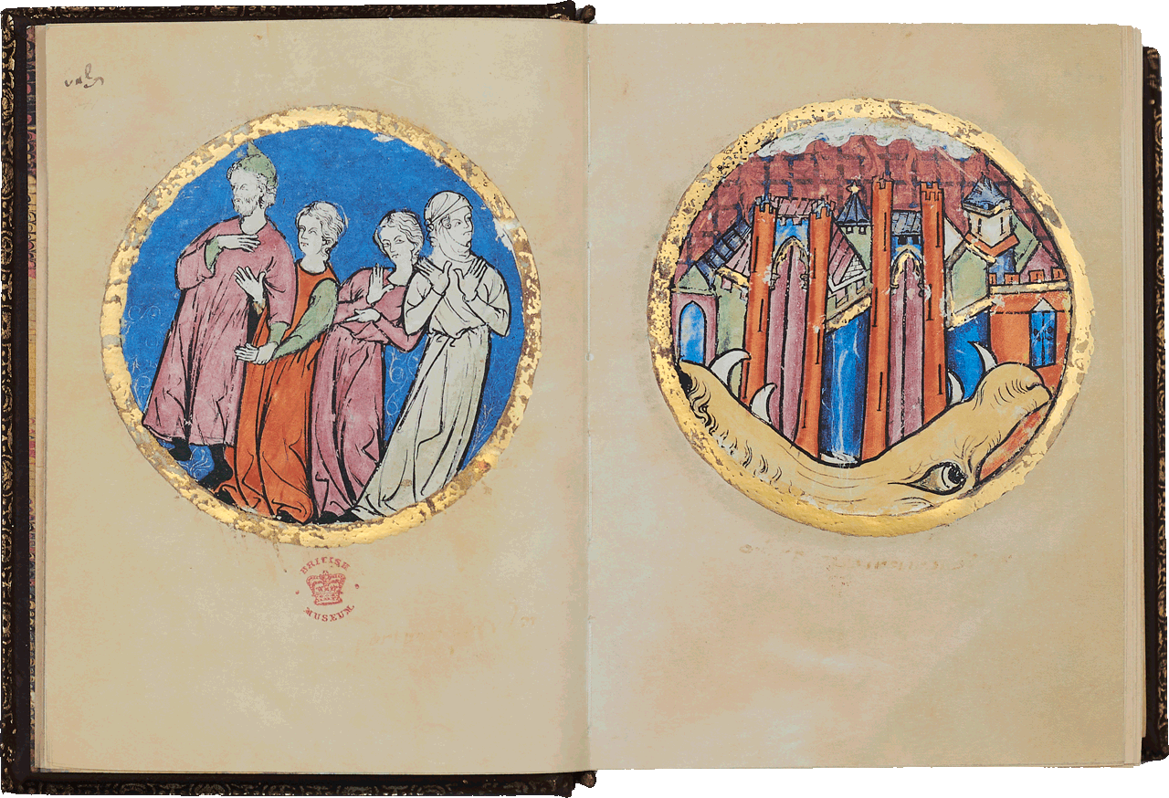 """Folio 741a/740b Lot with his wife and daughters and the burning city of Sodom <small><a href=""""https://www.facsimile-editions.com/copyright/"""">© Copyright 2021 Facsimile Editions Ltd</a></small>"""
