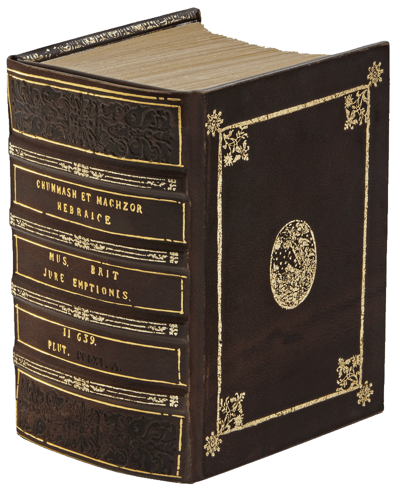 """The binding is an intricate copy of the manuscript's 19th century binding. It is in full dark brown calf with a hollow spine and marbled end-papers. The front and back boards feature gold-tooled medallions depicting Jacob's dream. The bevelled boards are tooled in gold and the spine is gold and blind-tooled exactly following the original. Finally, the binding has been 'aged' to impart the same feel as the original manuscript. <small><a href=""""https://www.facsimile-editions.com/copyright/"""">© Copyright 2021 Facsimile Editions Ltd</a></small>"""