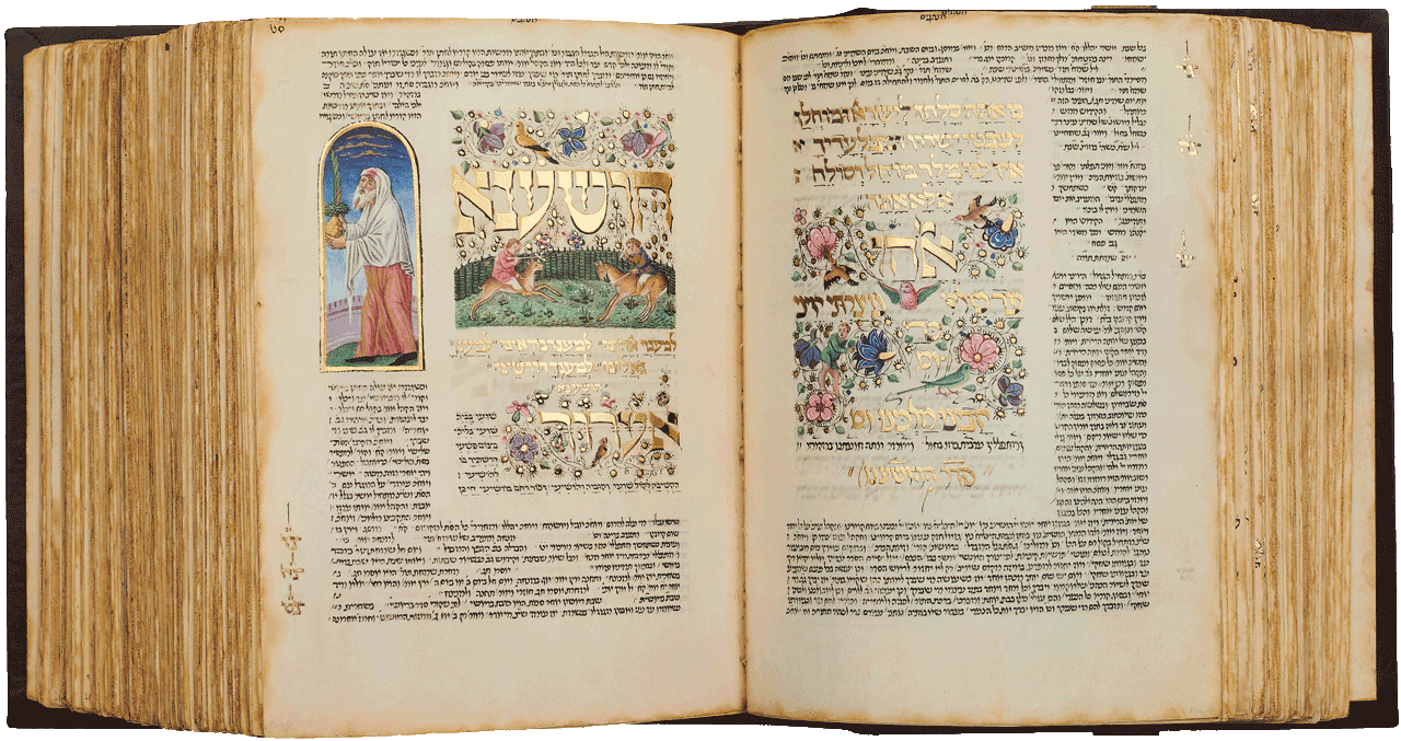 """Folios 147a-146b - This scene was possibly painted by Bonifacio Bembo. The Hosha'not prayers recited during Sukkot (the Feast of Tabernacles). Two children are playfully jousting and riding deer in a garden of flowers. On the left, a man has a myrtle, palm branch (lulav) and citron (etrog). On the opposite, beautifully illuminated page, the text is part of the Amidah recited on Yom Kippur. <small><a href=""""https://www.facsimile-editions.com/copyright/"""">© Copyright 2020 Facsimile Editions Ltd</a></small>"""