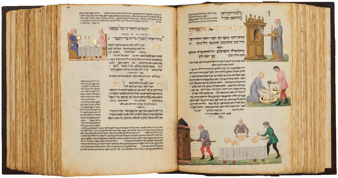 """Folio 156a-155b -The beginning of the Haggadah depicting the search for leaven, making matzot and the kiddush. The marginal text contains Maimonides' Passover laws. <small><a href=""""https://www.facsimile-editions.com/copyright/"""">© Copyright 2020 Facsimile Editions Ltd</a></small>"""