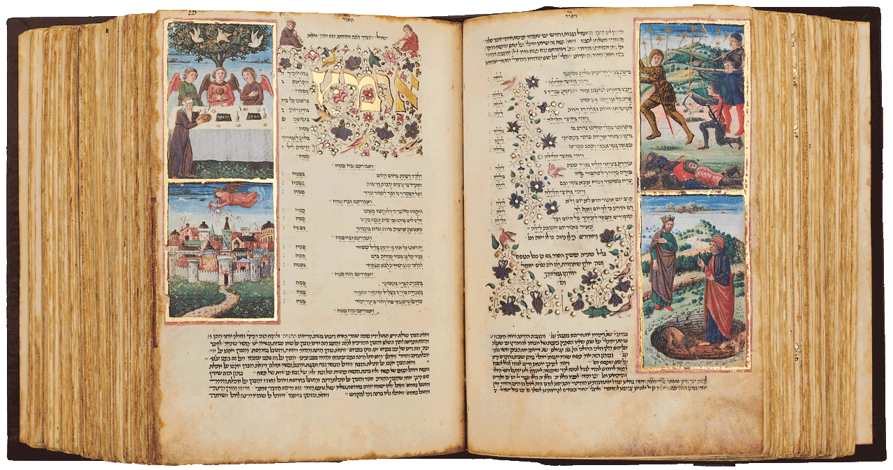 """Folio 165a-164b - Piyyutim for Passover. The four miniatures depict Abraham entertaining the angels, Gabriel hurling fiery rocks over Sodom, Sisera defeated by Debora and Barak and Daniel and the lion. The marginal texts contain Maimonides laws concerning Passover. <small><a href=""""https://www.facsimile-editions.com/copyright/"""">© Copyright 2020 Facsimile Editions Ltd</a></small>"""