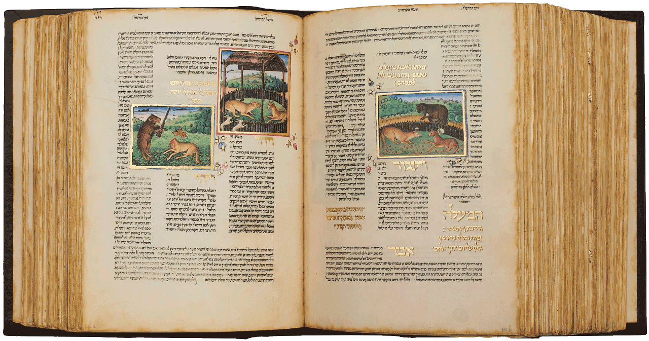 """Folio 312a-311b - Meshal Haqadmoni, 'Image of both the wolf and the fox, and the bear passes before them' at right. <small><a href=""""https://www.facsimile-editions.com/copyright/"""">© Copyright 2020 Facsimile Editions Ltd</a></small>"""