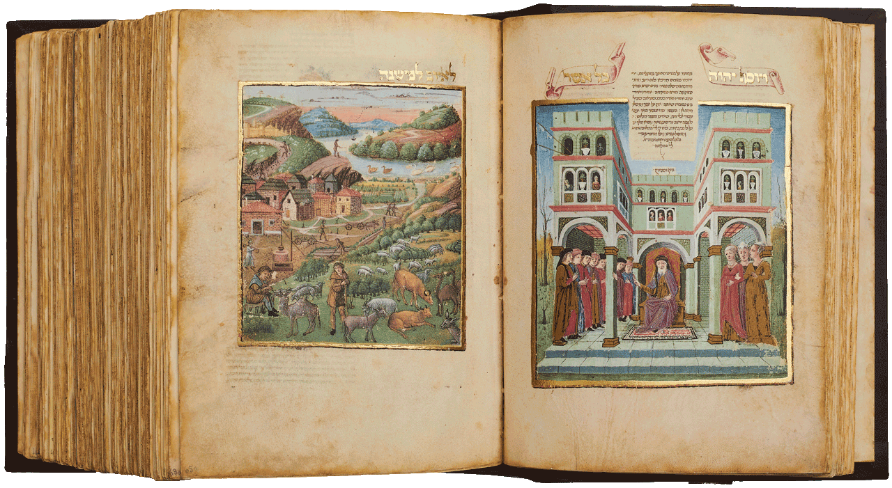 """Folio 64b Depicting Job and his seven sons and three daughter, 'Nowhere in the land were women as beautiful as Job's daughters to be found…'.  Folio 65a The Lord gave Job twice what he had before. 'God gave to Job a foretaste of the bliss of paradise…' <small><a href=""""https://www.facsimile-editions.com/copyright/"""">© Copyright 2020 Facsimile Editions Ltd</a></small>"""