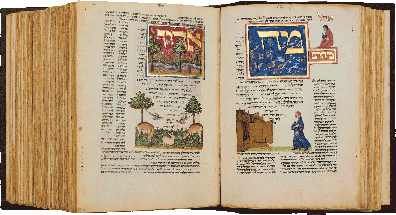 """Folios 80a/79b  - The beginning of the prayer book starts with Ma tovu, """"How goodly are thy tents, O Jacob"""" and depicts a man walking to the synagogue. On the right, the prayer, Adon Olam, """"The Lord of all"""". <small><a href=""""https://www.facsimile-editions.com/copyright/"""">© Copyright 2020 Facsimile Editions Ltd</a></small>"""