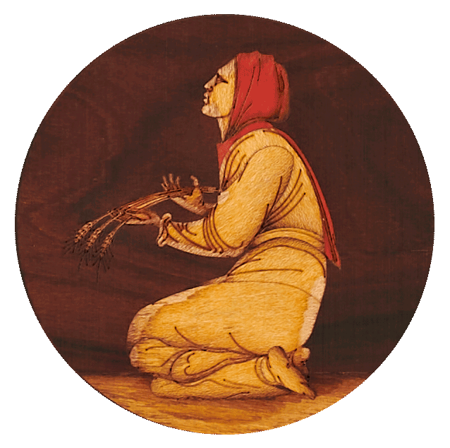 """Ruth rendered in marquetry. Wood in three different colours was used, laser-cut to shape and shaded in boiling sand.  <small><a href=""""https://www.facsimile-editions.com/copyright/"""">© Copyright 2021 Facsimile Editions Ltd</a></small>"""
