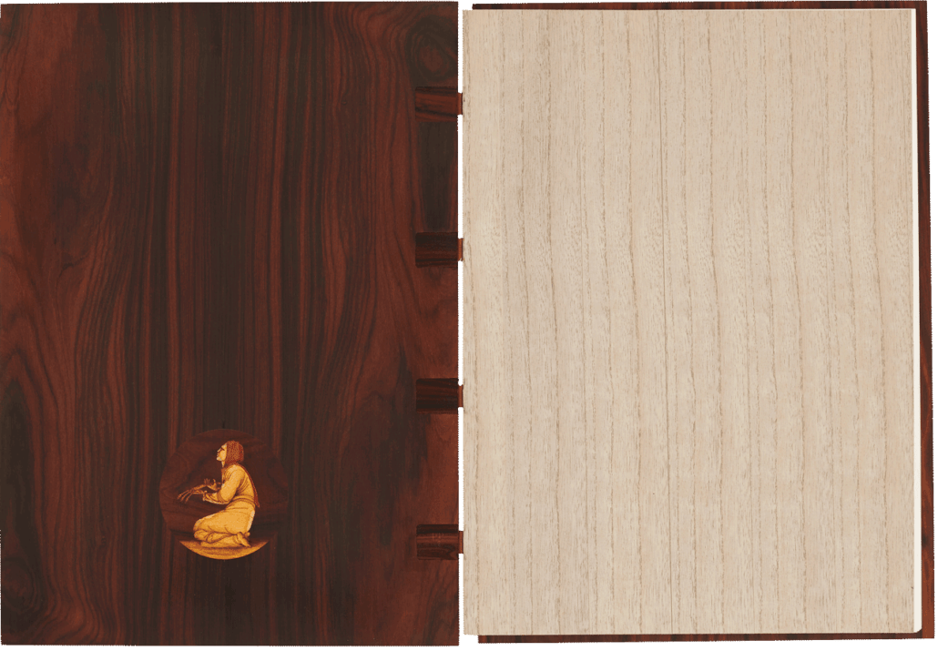 """The inside back cover with an image of Ruth in marquetry. The flyleaf is wafer-thin wood veneer. <small><a href=""""https://www.facsimile-editions.com/copyright/"""">© Copyright 2021 Facsimile Editions Ltd</a></small>"""