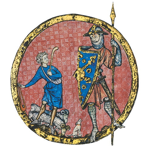 "Folio 523b David and Goliath <small><a href=""https://www.facsimile-editions.com/copyright/"">© Copyright 2021 Facsimile Editions Ltd</a></small>"