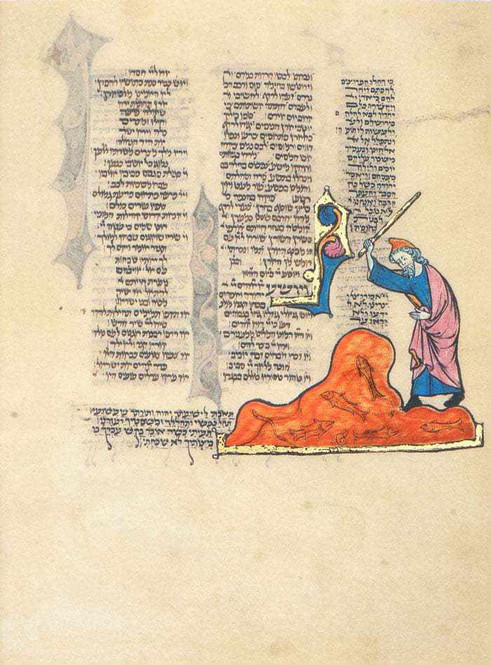 """Folio 309b Moses strikes the waters of the Nile with his rod turning the water into blood. The text on the page is part of the Passover liturgy <small><a href=""""https://www.facsimile-editions.com/copyright/"""">© Copyright 2021 Facsimile Editions Ltd</a></small>"""