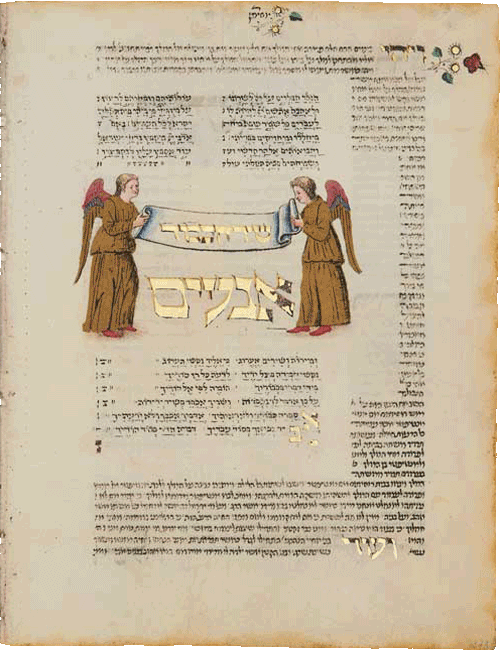 """Folio 273b - Shir Hakavod (Song of Glory). Two winged golden angels hold a scroll. <small><a href=""""https://www.facsimile-editions.com/copyright/"""">© Copyright 2020 Facsimile Editions Ltd</a></small>"""