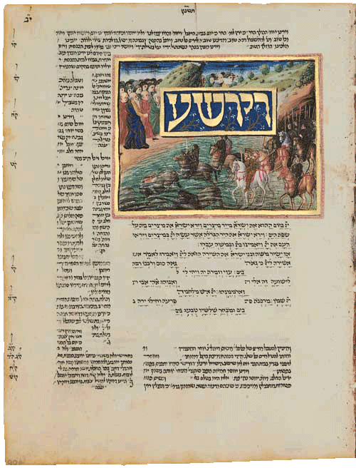 """Folio 90a - The crossing of the Red Sea. As the Israelites cross on dry land, Pharaoh drowns dressed in a suit of golden armour. <small><a href=""""https://www.facsimile-editions.com/copyright/"""">© Copyright 2020 Facsimile Editions Ltd</a></small>"""