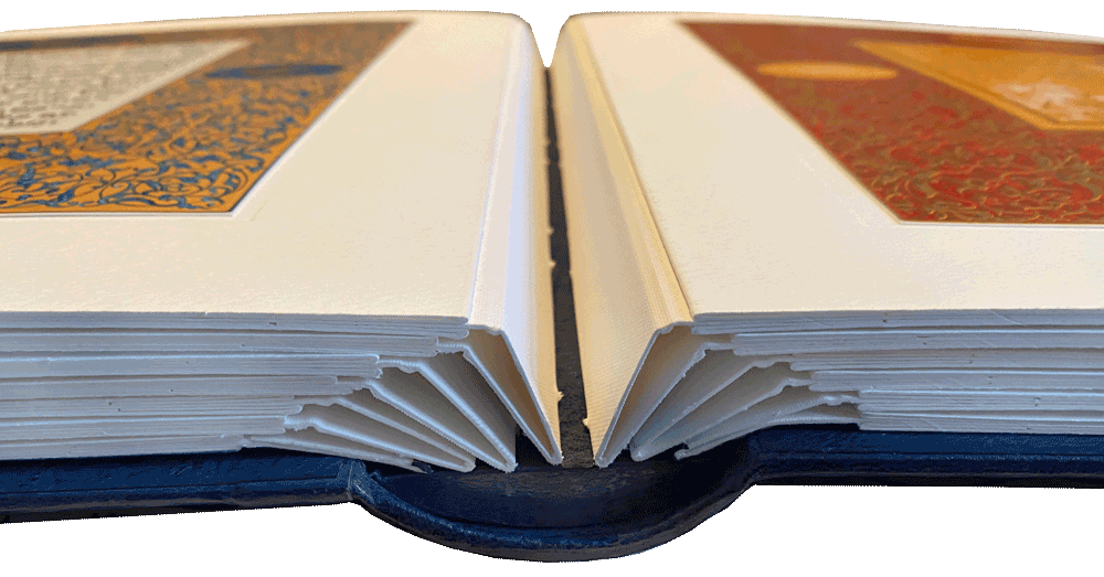 """Specially designed 'guard' construction ensures that this thick volume opens flat at every spread. <small><a href=""""https://www.facsimile-editions.com/copyright/"""">Facsimile image © Copyright 2021 Facsimile Editions Ltd</a></small>"""