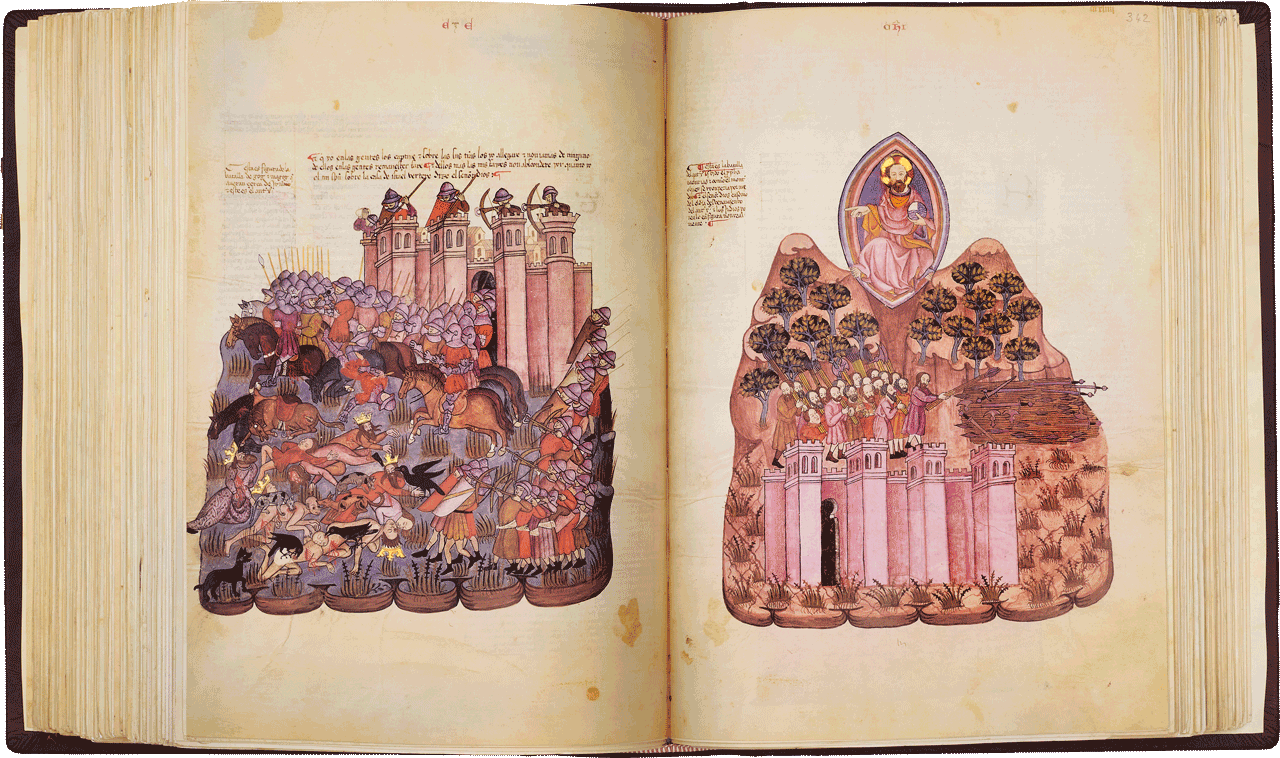 """Folios 341v /342r  The depiction of the battle of Gog and Magog which took place near Jerusalem. Arragel's commentary identifies Gog with the Antichrist, Israel's oppressor.  342r Israel's victory after Gog's defeat. Image © Copyright 2021 Facsimile Editions Ltd. <small>For use visit: <a href=""""https://www.facsimile-editions.com/copyright/"""">Copyright T&C Facsimile Editions Ltd</a></small>"""