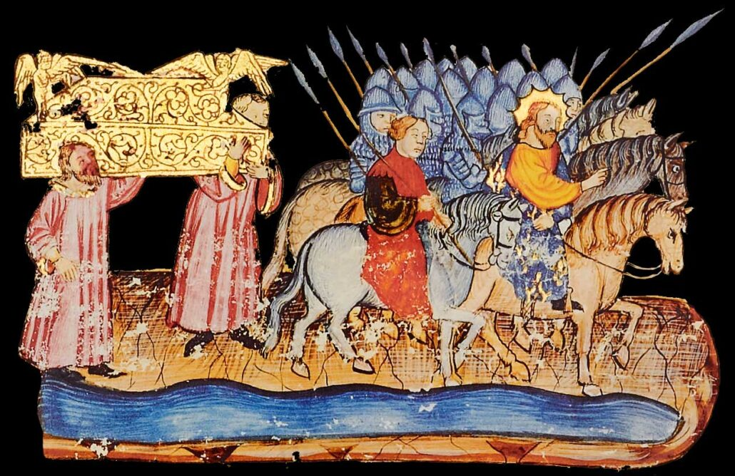"""Folio 167r (detail) The priests carrying the ark stop in the middle of the River Jordan. At their head, Joshua and his army advance on horseback. Image © Copyright 2021 Facsimile Editions Ltd. <small>For use visit: <a href=""""https://www.facsimile-editions.com/copyright/"""">Copyright T&C Facsimile Editions Ltd</a></small>"""
