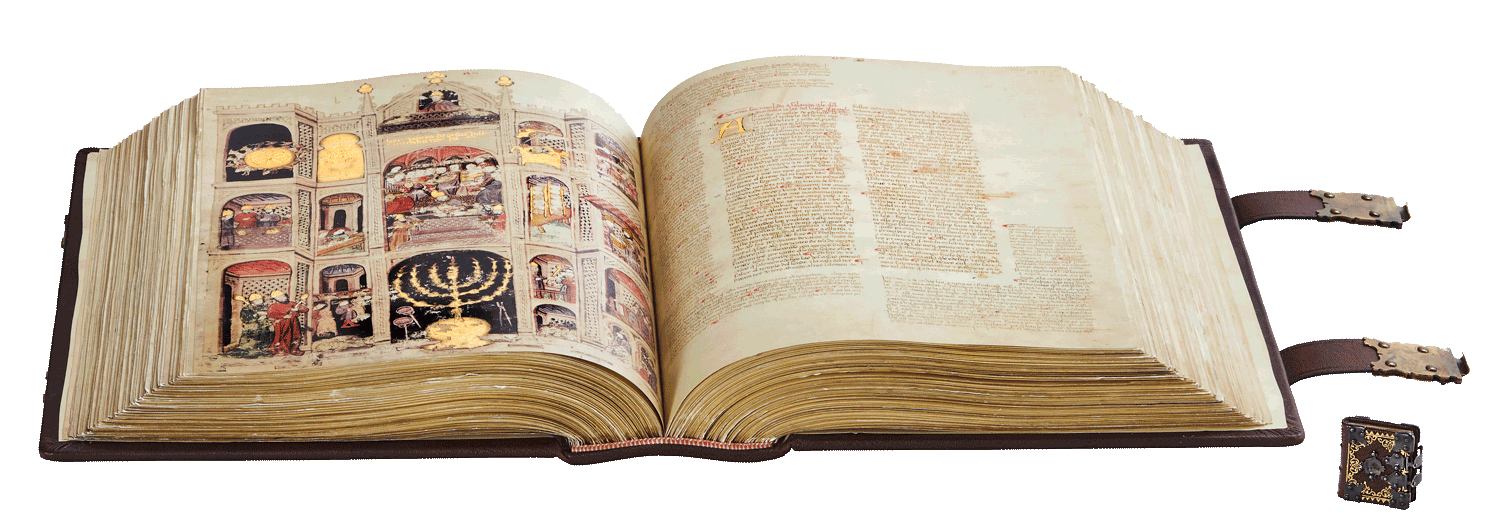 """The Alba Bible and Me'ah Berachot. <small><a href=""""https://www.facsimile-editions.com/copyright/"""">© Copyright 2021 Facsimile Editions Ltd</a></small>"""