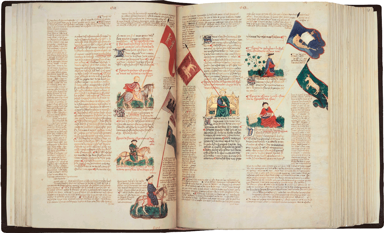 """Folio 56v/57r  The standards of the twelve tribes. They bear emblems of animals or objects with which Jacob, close to death, identified his sons when he was blessing them. The emblems are those given in the biblical verses, but a literary source underlying the illustrations is to be found in Midrash Rabbah. The Midrash states that the colours of the banners corresponded to the precious stones in Aaron's breastplate, and gives these as ruby, topaz, smaragd, carbuncle, sapphire, emerald, jacinth, agate, amethyst, beryl, onyx and jasper.  Image © Copyright 2021 Facsimile Editions Ltd. <small>For use visit: <a href=""""https://www.facsimile-editions.com/copyright/"""">Copyright T&C Facsimile Editions Ltd</a></small>"""
