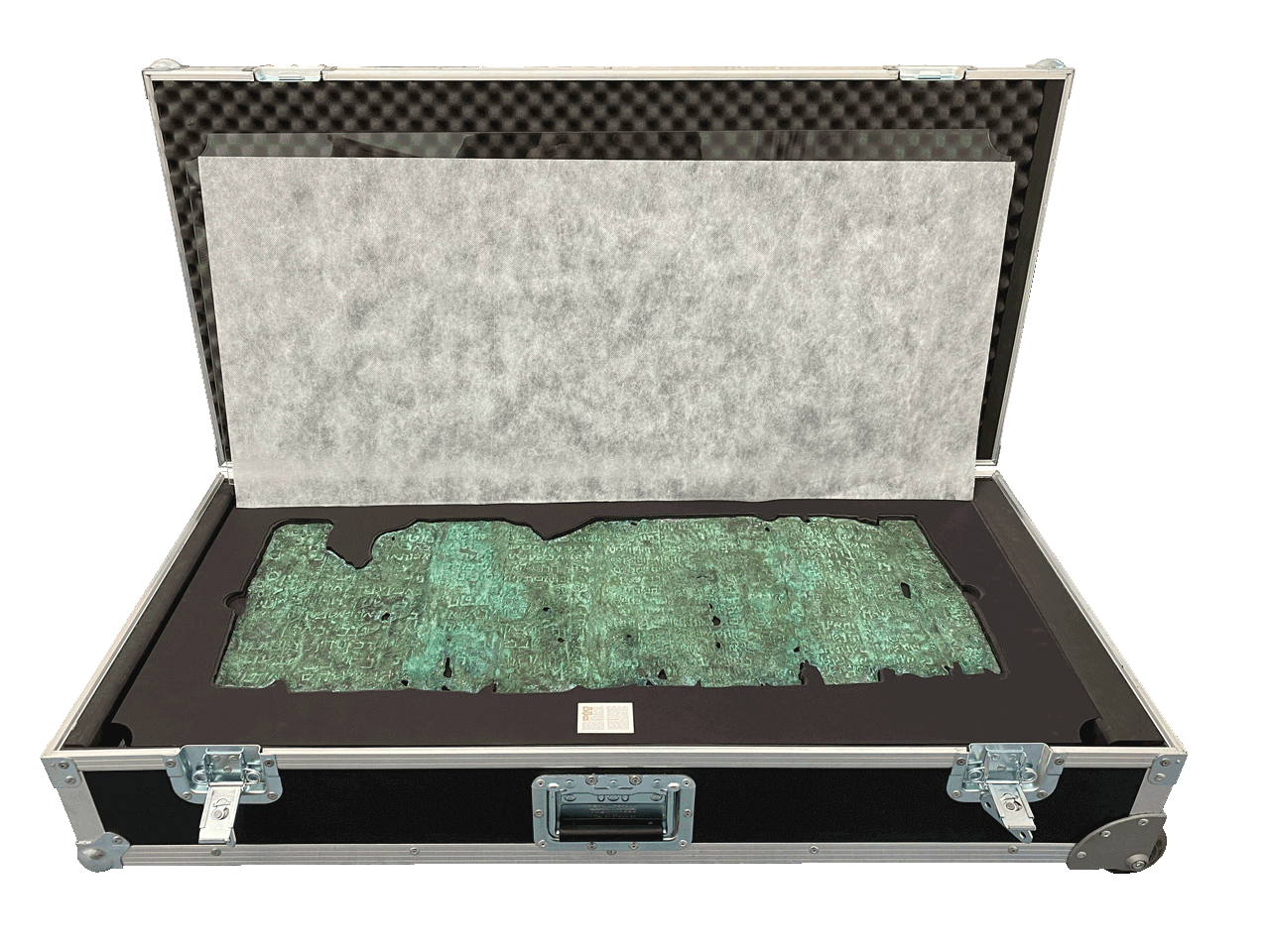 "The Copper Scroll's heavy-duty shipping case<small><a href=""https://www.facsimile-editions.com/copyright/"">© Copyright 2021 Facsimile Editions Ltd</a></small>"