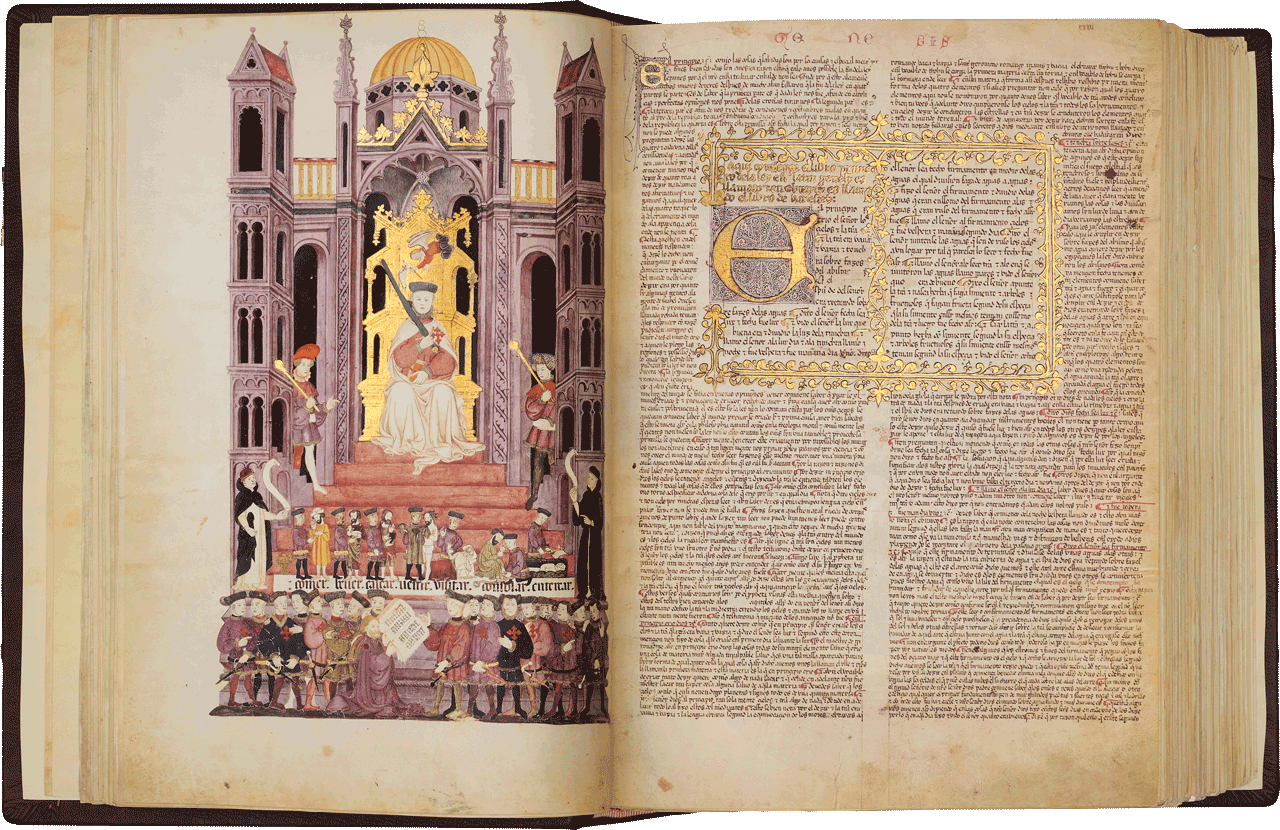 """Folio 25v Don Luis de Guzmán presides in majesty at an imaginary ceremony wherein Rabbi Arragel presents the completed manuscript. On his right shoulder, the Rabbi displays the distinctive round red mark, compulsory for Jews.<br />Folio 26r The opening to the Book of Genesis.   Image © Copyright 2021 Facsimile Editions Ltd. <small>For use visit: <a href=""""https://www.facsimile-editions.com/copyright/"""">Copyright T&C Facsimile Editions Ltd</a></small>"""