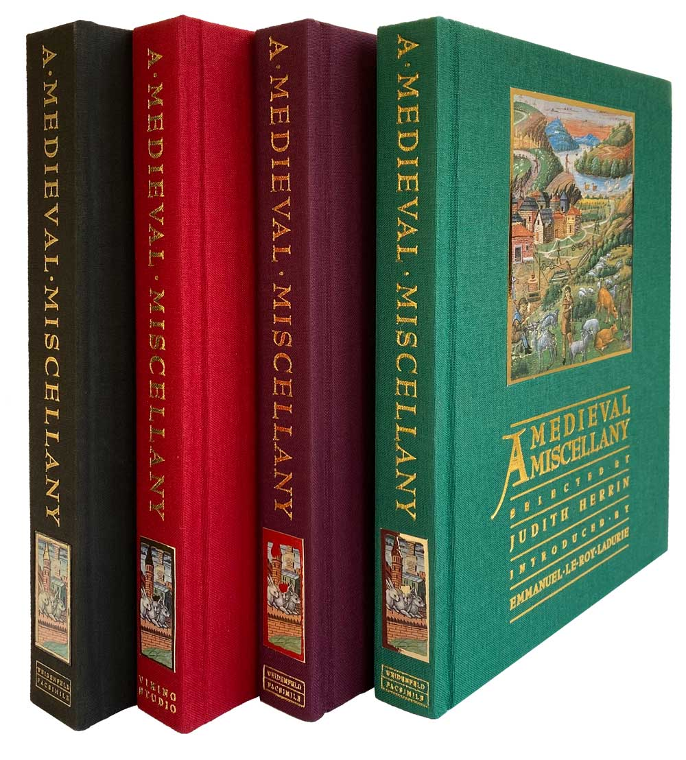 Four of the 6 differently coloured bindings of the Medieval Miscellany  © 2021 Facsimile Editions Ltd