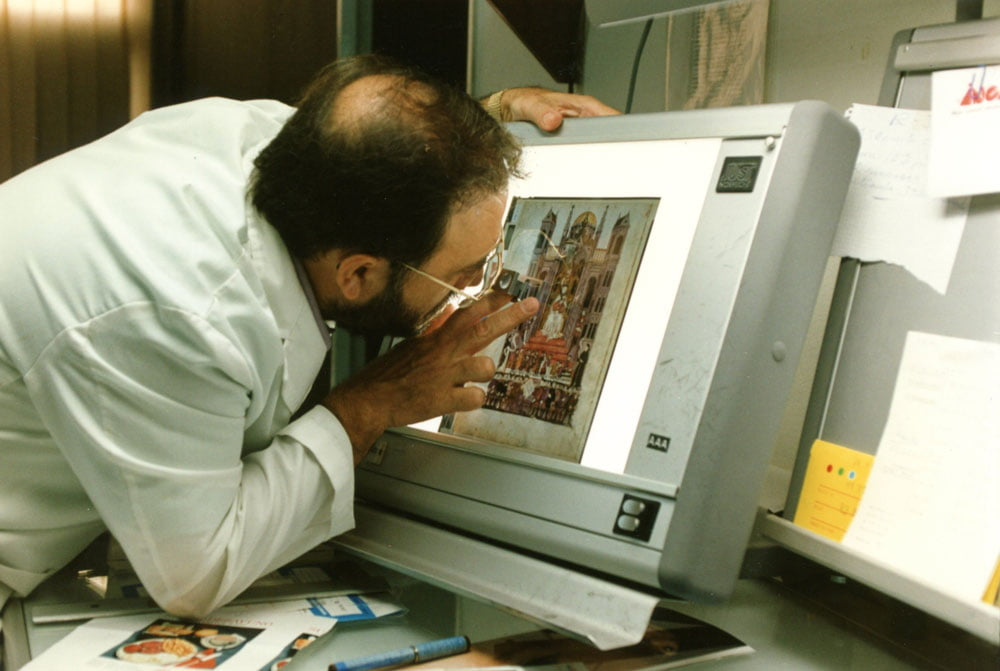 """After photography the images are processed in Madrid, Spain, and inspected in the laboratory before handing over to Facsimile Editions for colour separation in Milan, Italy. <small>Image © Copyright 2021 Facsimile Editions Ltd.  For use visit: <a href=""""https://www.facsimile-editions.com/copyright/"""">Copyright T&C Facsimile Editions Ltd</a></small>"""